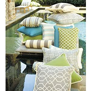Amazon.com: Outdoor Piped Throw Pillow - 16 inch Square - Trellis Kiwi Sunbrella - Ballard ...