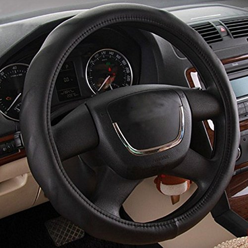 Black Color High Quality Steering Wheel Cover Car Leather 15