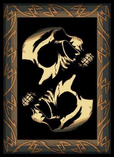 United Weavers Legends Area Rug 910-07260 Phantom Black Skulls Skeleton 5' 3