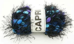 Oke - Pelote de laine pompon capri - noir bleu violet