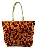 Neska Moda Swachh Bharat Women's Floral Yellow Red Jute Bag Shoulder Bag - Made In INDIA