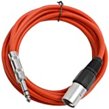 Seismic Audio SATRXL-M10Red6 10-Feet XLR Male to 1/4-Inch TRS Patch Cables - Red