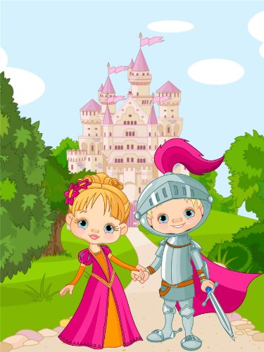Nursery Fairy Tale Princess Knight Castle Kids Bedroom Art 12 X 16 Inch Poster Mp4291B