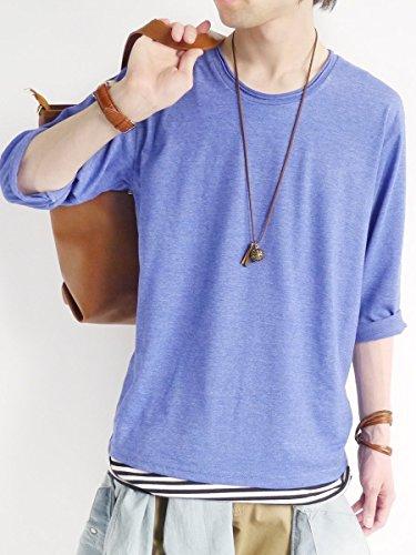 (モノマート) MONO-MART ツインロール 7分袖 カットソー 杢 ストレッチ ちょいゆる Uネック Tシャツ カジュアル モード カラー メンズ