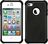 #9: CUBIX® iPhone 4S Case, [Dual Layer] [Shockproof] Armor Hybrid Defender Anti-Drop Rugged Protective Bumper Case for Apple iPhone 4S (Black)