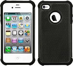 iPhone 4S Case, Deer [Shock Proof] [Rugged] Armor Defender Protective Bumper Case for Apple iPhone 4S (Black)