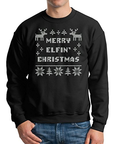 Elfin Christmas Sweater Ugly Xmas Sweater X-Large Black