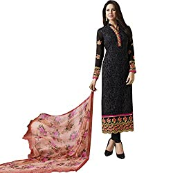 Vasu Saree Black And Coral Georgette Straight Churidar Suit