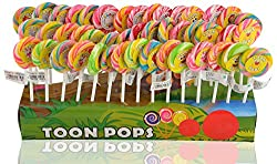 Toonpops 1.5 Inch Dia - Assorted Fruit Flavour Candy Lollipop Birthday Pack 60 pcs with Display Box, 600 g