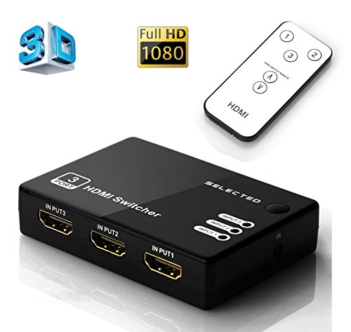 Cingk 3x1 Port HDMI Switch/Switcher HDMI 1.4a High Speed Selector Box 3 input 1 output Compatible PCs XBOX TVs HDTV DVD Xbox Supports 3D 1080P Intelligent with IR Wireless Remote (Switch Box For Tv compare prices)
