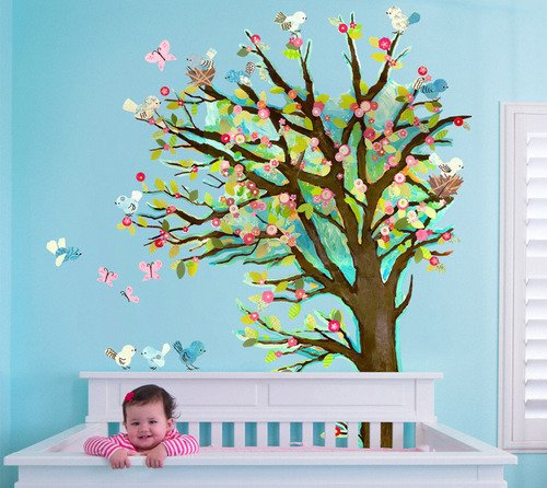 Oopsy Daisy Peel and Place Cherry Blossom Tree by Winborg Sisters, 54 by 60-Inch