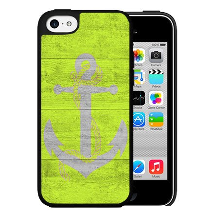 Lime Green Wood Pattern  Gray Anchor Hard Snap