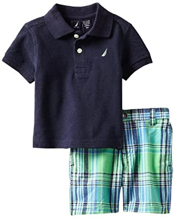 Nautica Baby-Boys Infant 2 Piece Solid Polo Short Set, Sport Navy, 12 Months