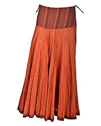 Geroo Women ankle Length Cotton Skirt (PV-5, Rust, Free Size)