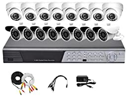 iPower Security SCCMBO0015 16 Channel Full D1 DVR Security Surveillance System with 16 850TVL Cameras