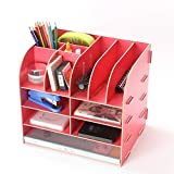 Melife® Creative DIY Oversize Wooden Home Office Desk Organizer, 13 Compartments (Red)
