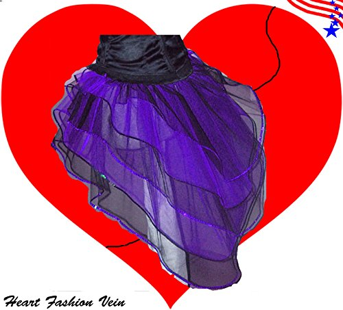 Purple Black Peacock Bustle Sequins 5 Layer Tutu Skirt Halloween Queen of Darkness (Vampir Adult Costume)