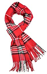 Plum Feathers Super Soft Luxurious Cashmere Feel Winter Scarf (Red Plaid)