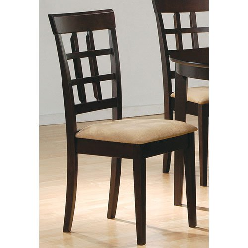 Coaster Home FurnishingsGabriel Modern Window Back Side Chair ( Set of 2 ) - Cappuccino / Tan Microfiber