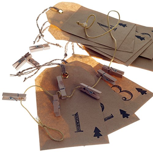 Adventskalender als Girlande mit 24 Papiertaschen thumbnail
