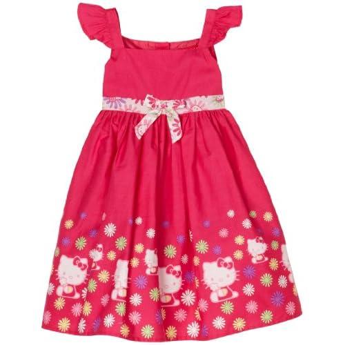 Hello Kitty Little Girls Poplin Dress, Cerise, 2T