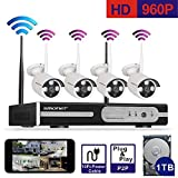 [Better Than 720P]Smonet 4CH 960P HD NVR Wireless Security CCTV Surveillance Systems(WIFI NVR Kit)-Four 1.3MP Wireless WIFI Indoor Outdoor IP Cameras,P2P,65FT Night Vision, 1TB HDD Pre-installed
