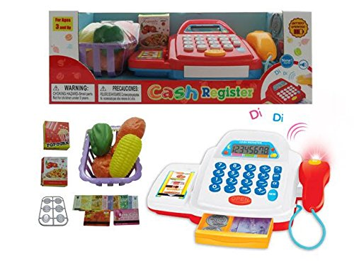 Toy Kid Supermarket Cash Register Scanner Play Set Item Shopping Cart Money Coin(color may vary) (Kids Scanning Cash Register compare prices)