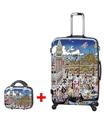 Heys USA - 2pcs. - SET 50 GBP Discount - Fazzino Venezia, High-quality designer artist luggage set - 76 cm 4-wheels Trolley and Beauty Case from Heys USA