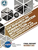 img - for Final Report and Recommendations for Research on Human-Automation Interaction in the Next Generation Air Transportation System book / textbook / text book