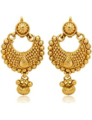 Traditional Ethnic Gold Plated Ethnic Golden Diya Earrings For Women By Donna ER30025GC