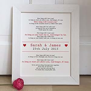 Amazon Wedding Gift List Uk : ... Wedding lyrics FRAMED art print anniversary gift picture: Amazon.co.uk