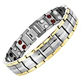 Starista Jewelry Pure Titanium 2 Tone Bracelet Double Row 4 Elements Magnetic Health Wristband for Men (Silver Gold)
