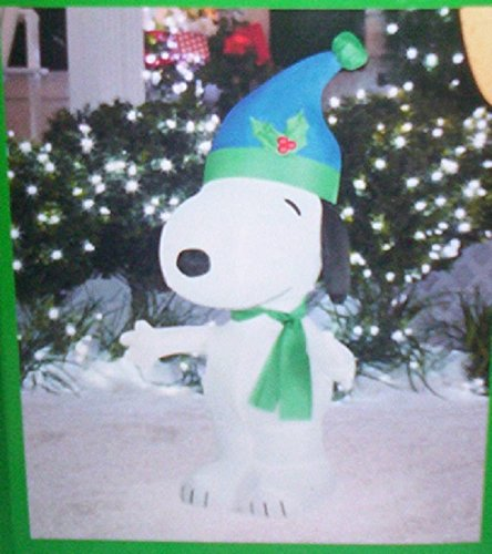 3.5 FT Snoopy w/ Santa Hat & Scarf Christmas Airblown Inflatable