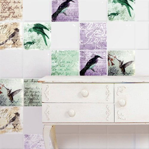 Your-design-Oiseaux-vintage-Stickers-pour-carrelage