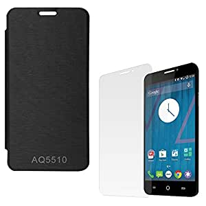 ASG Protective Mobile Front Cover Case For Micromax Yureka Yu AQ5510 (Black)+ Screen Protector Combo Set
