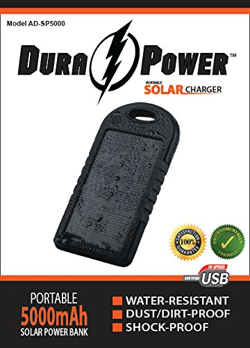 Dura-Power-5000mAh-Solar-Charger-Power-Bank
