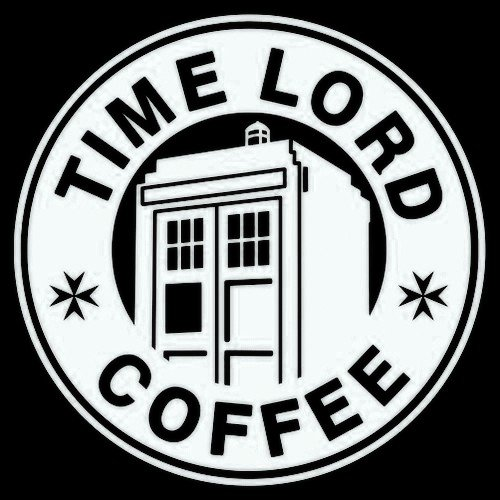 Dr Who Time Lord Coffee WHITE Vinyl Car/Laptop/Window/Wall Decal