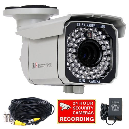 "VideoSecu Weatherproof Outdoor Day Night CCTV Home Security Camera 540TVL High Resolution 1/3"" Sony CCD 8-20mm Lens 65 Infrared Leds 3X zoom with Power Supply and Camera Extension Cable IR549KC WB8"