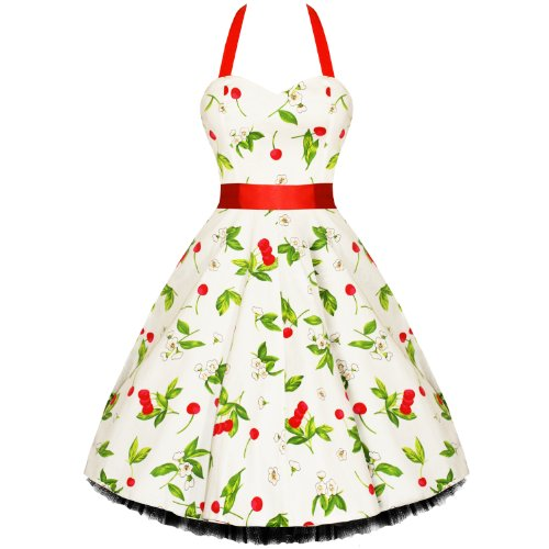 LADIES NEW CREAM RED CHERRY VTG 50S SWING PINUP PARTY PROM DRESS
