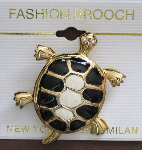 Fashion Brooch: Enamel Turtle With Crystal Eyes