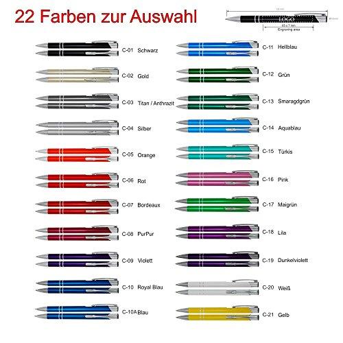 Metall – Kugelschreiber COSMO mit Lasergravur / Gravur – Farben sortenrein oder Gemischt (alle mit gleicher Gravur) 22 Farben zur Auswahl, Menge:100 Stück