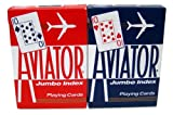 Aviator Jumbo Index Playing Cards - 1 Sealed Red Deck and 1 Sealed Blue Deck