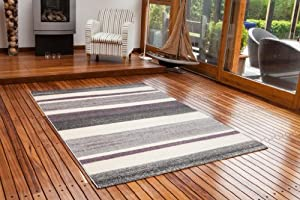 Bombay Super Soft Grey, Cream & Purple Striped Rug 7625 - 4 Sizes Available from The Rug House
