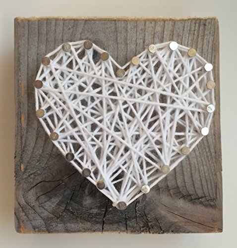 Rustic white string art heart block - A unique gift for Weddings, Anniversaries, Valentine's Day, Birthdays, Christmas, Sympathy and new baby gift.