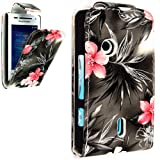 FOR SONY ERICSSON XPERIA X8 PINK ROSE PRINT ON BLACK LEATHER FLIP CASE COVER POUCH