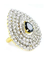 The Art Jewellery - Finger Ring In Black With CZ Diamond