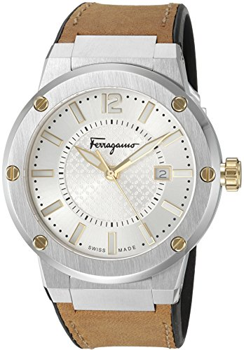 Salvatore-Ferragamo-Mens-F-80-Swiss-Quartz-Stainless-Steel-and-Leather-Casual-Watch-ColorBeige-Model-FIF080016
