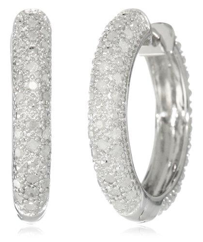 Sterling Silver Diamond Hoop Earrings (1/2 cttw, H-I Color, I2-I3 Clarity)