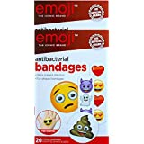 Emoji The Iconic Brand Antibacterial Bandages 20 Sterile Bandages Assorted Shapes And Sizes