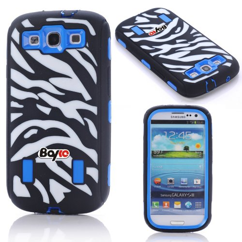 Bayke Brand Premium Armorbox Armor Defender Case for Samsung Galaxy S3 SIII i9300 Fashion Zebra Combo Print High Impact Dual Layer Hybrid Full-body Protective Case with Built-in Screen Protector (Blue) at Amazon.com